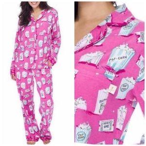 MUNKI MUNKI Popcorn Print Pink Flannel Pajama Set
